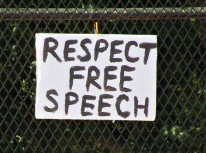 Sign on fence surrounding Lafayette Square, Washington, D.C., June 7, 2020 (photo by the author)